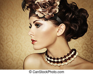 smukke, firmanavnet, vinhøst, retro, portræt, woman.