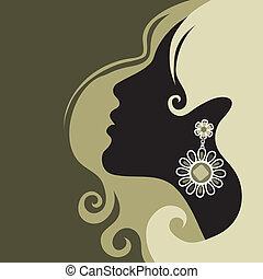 smukke, hår, pige