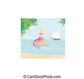 smukke, illustration, havfrue