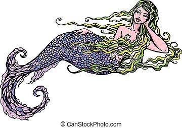 smukke, isoleret, illustration, hånd, baggrund., stram, pige, hvid, havfrue