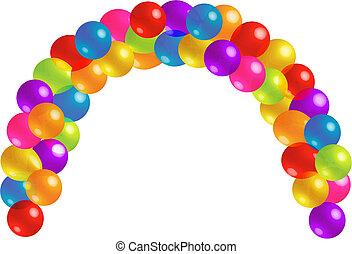 smukke, lots, balloon, bue, farvedias