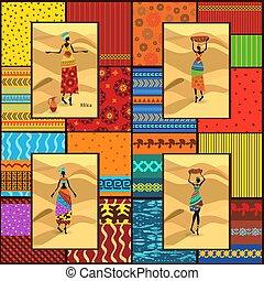 smukke, ornamental, sæt, påklædt, afrikansk, piger, seamless, samling, tekstur, etniske, bannere