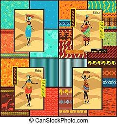 smukke, ornamental, sæt, påklædt, piger, seamless, samling, tekstur, afrikansk, cards