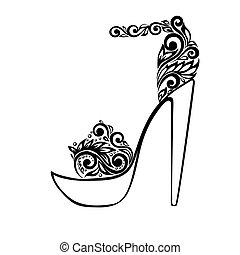 smukke, ornamentere, sandaler, sort, blomstrede, dekorer, hvid