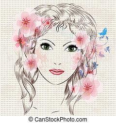 smukke, pige, mode, blomster, zeseed