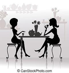 smukke piger, cafes, silhuet