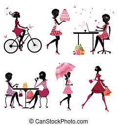 smukke piger, sæt, silhuet, ferie