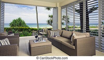 smukke, søside, havet, suite, udsigterer