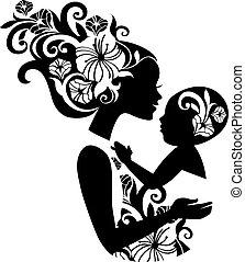 smukke, sling., silhuet, illustration, baby, mor, blomstrede