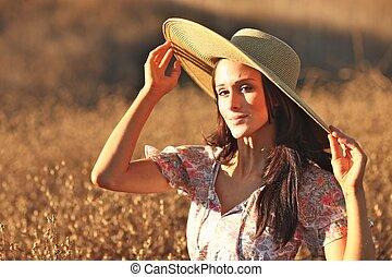 smukke, sommer, kvinde, unge, felt, tid