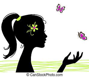 smukke, sommerfugl, pige, silhuet