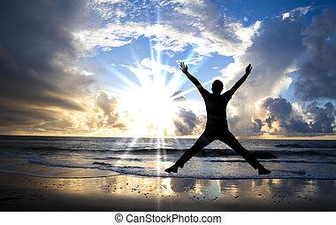 smukke, springe, glade, strand, solopgang, mand
