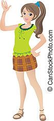 smukke, teenage, illustration, vink, smil., pige, cartoon, ponytail