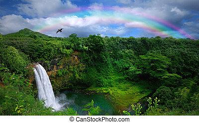 smukke, top, vandfald, hawaii, udsigter