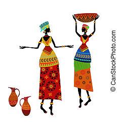 smukke, traditionelle, kvinde, kostume, afrikansk