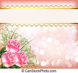 snørebånd, festlige, bouquet, tape, baggrund, roser