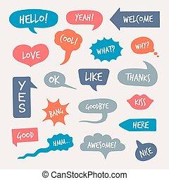 snakke, online, comments, sæt