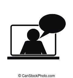 snakke, online, enkel, ikon, firmanavnet