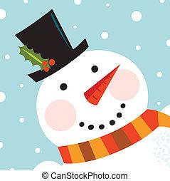 snemand, glade, sne, baggrund, cute, zeseed