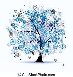 snowflakes., træ, holiday., vinter, jul