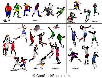 soccer, fodbold, illustration, vektor, idræt, volleyball., basketball, ball.