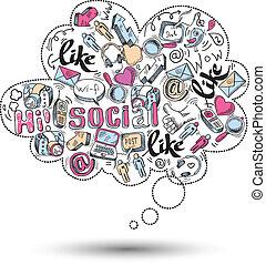 sociale, doodle, infographics, medier