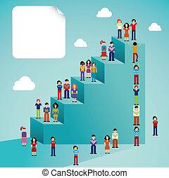 sociale, globale, tilvækst, netværk, folk