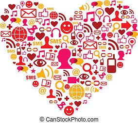 sociale, hjerte form, medier, iconerne