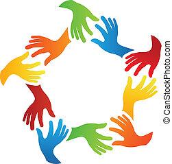 sociale, kammerater, hænder