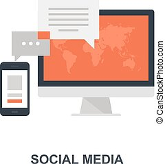 sociale, medier, begreb, ikon