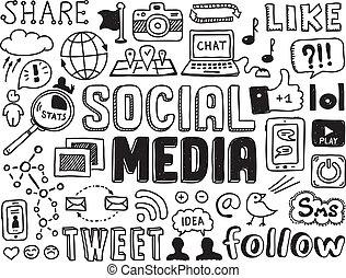 sociale, medier, elementer, doodles