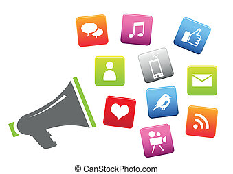 sociale, medier, megafon, iconerne