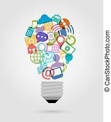 sociale, medier, pære, iconerne