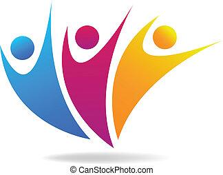 sociale, medier, vektor, logo, folk