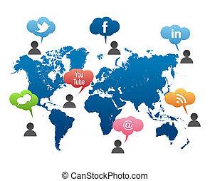 sociale, medier, vektor, verden kort