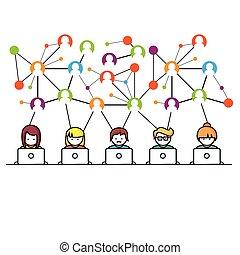 sociale, netværk, medier, folk