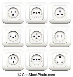 sockets, mangfoldigheder, typer, forskellige