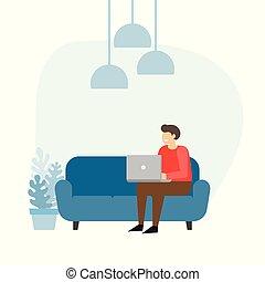 sofa, laptop., home., arbejde, mand, forretningsmand