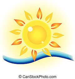 sol, øje, hav, illustration