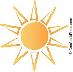 sol, abstrakt, børst, logo
