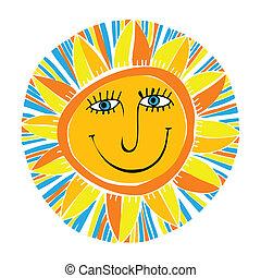 sol, abstrakt, smil
