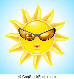 sol, cartoon, bogstaverne