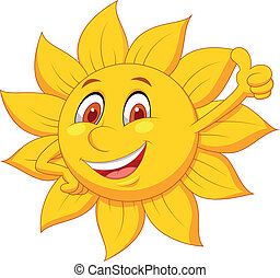 sol, cartoon, karakter, tommelfinger oppe