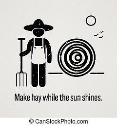 sol, forarbejde, mens, shines, hø