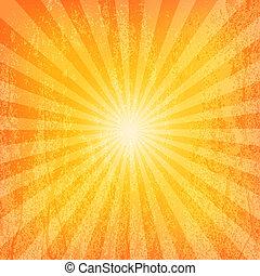 sol, grunge, mønster, sunburst