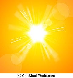 sol, klar, gul