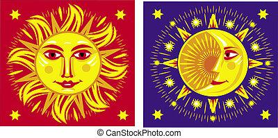 sol, moon., vektor, illustration