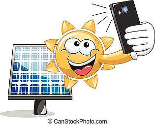 sol, selfie, cartoon, sol panel