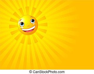 sol, smile glade, baggrund, sommer