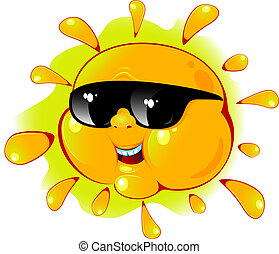 sol, sunglasses, cartoon